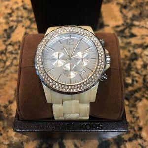 Michael Kors Bone/Rhinestone Watch